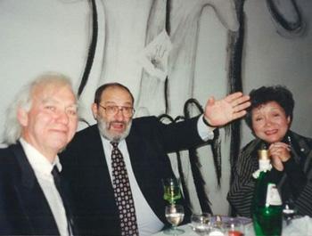Leon Rooke. Author + Painter. Leon Rooke w/ Umberto Eco & Adrienne Clarkson. Istituto Italiano di Cultura, Toronto. 1997.