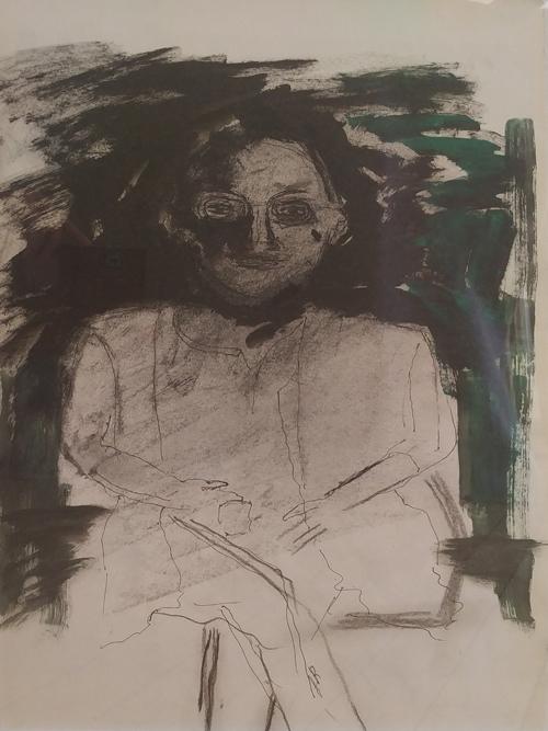Leon Rooke. Painting - sitting