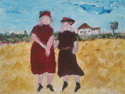 Leon Rooke. Painting - two ladies